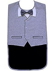 Babero impermeable para hombre, esmoquin gris con pajarita 3D, Frenchie Mini Couture