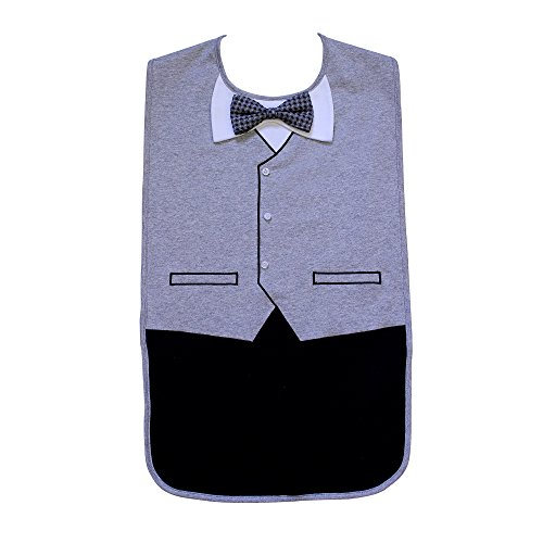 Mens Waterproof Adult Bib, Gray Tuxedo with 3D Bowtie, Frenchie Mini Couture
