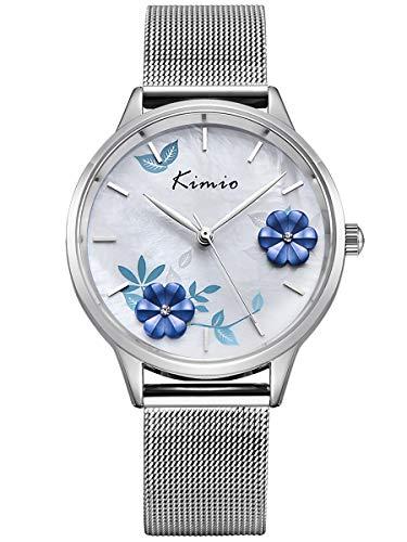 Alienwork Damen-Armbanduhr Quarz Silber mit Metall Mesh Armband Edelstahl Weiss Perlmutt-Zifferblatt elegant