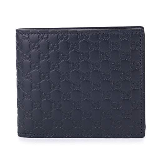 Gucci Blue Leather Micro Gg Guccissima Bifold Wallet 544472 BMJ1N
