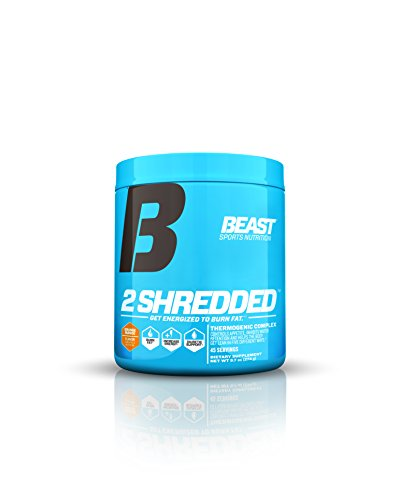 Beast Sports Nutrition 2 Shredded: Thermogenic Powder, Metabolism Booster, and Appetite Suppressant   Best Fat Burner Drink for Weight Loss and Reduced Water Retention, Orange Mango, 45 Servings