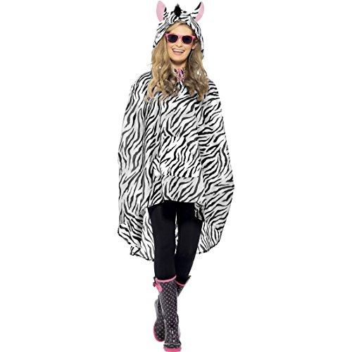 NET TOYS Zebra Party Poncho Tier Partyponcho Regenponcho Karneval Regencape Tierkostüm Kostüm Zubehör