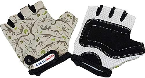 KIDDIMOTO Kinder Fahrradhandschuhe Fingerlose für Jungen und Mädchen/Fahrrad Handschuhe/Bike Kinder Handschuhe - Dino Fossil - S (2-5y)