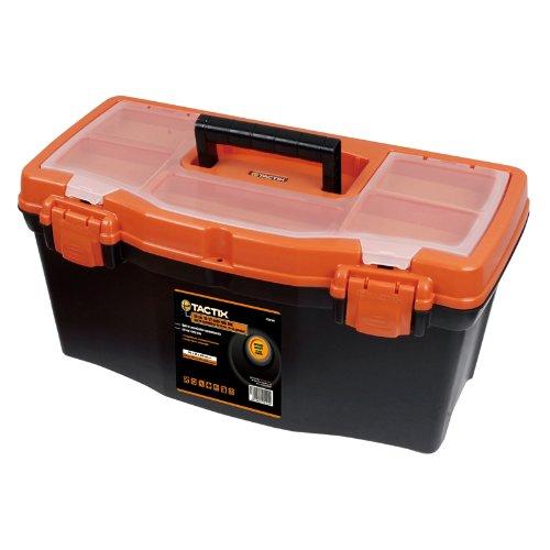 Tactix 320100una caja de herramientas de plástico, 50cm/19pulgadas, Negro/Naranja