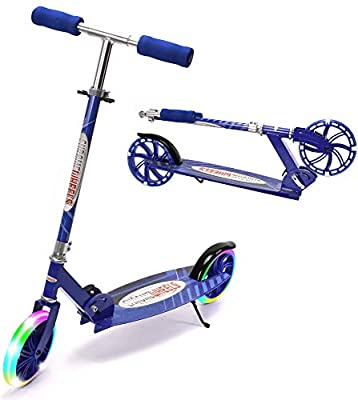"""ChromeWheels Kick Scooter, Deluxe 8"""" Large 2 Light Up Wheels Wide Deck 5 Adjustable Height with Kickstand Foldable Scooters, Best Gift for Age 9 up Kids Girls Boys Teens, 200lb Weight Limit, Blue"""