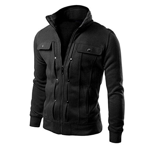 Cardigan Coat Fashion Jacket Mens Slim Designed Lapel Sweatshirt Black