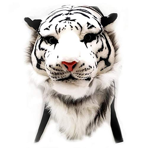 Zaino 3D Animal, 3D personalità Zaino Bianco della Peluche della Tigre Testa Figura, Zaino Attraente può Essere Lavato per Tutti