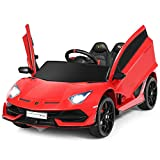 Costzon Ride on Car, 12V Battery Powered Car w/ 2.4G Remote Control, 2 Speeds, LED Lights, Horn,...