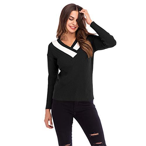 Buy V Neck Winter Sweater Solid Color Knit Pullover Slim Fit for Women Black