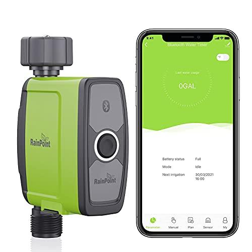 Rain Point Bewässerungscomputer, Bewässerungsuhr mit Bluetooth und App Steuerung, Automatische/Manuell Wasser Zeitschaltuhr für Garten Rasen