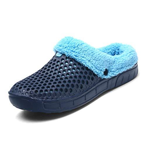 Cxypeng Zapatillas de casa Mujer,Zapatillas de Felpa Suave de Invierno, Zapatos de Piso para el hogar-Blue_41,Zapatillas con Memory Foam