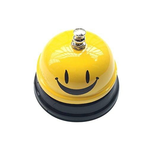 J Robin Timbre de Mesa Classic Round Steel Hotel Recepción Bar Restaurant Call Bell para Servicio (Smiley Face)