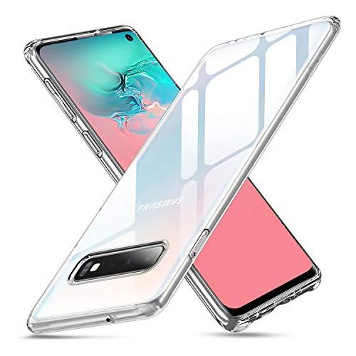 Whew Crystal Clear Samsung S10 Hülle, [Transparent Anti-Gelb] Hard PC Back & Soft Silikon Ultra Hybrid Samsung Galaxy S10 Handyhülle Durchsichtig Silikon Schutzhülle Slim Case - Ultra Dünn