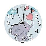 Lewiuzr Lindo Reloj de Pared de Elefante, Amor Dibujos Animados Bosque Animal bebé Elefante corazón Rojo silencioso Reloj de Pared Redondo sin tictac