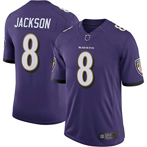 Herren T-Shirt American Football Uniform Baltimore Ravens #8 Jackson Football Trikots Gruby Tee Shirts Gr. M, violett