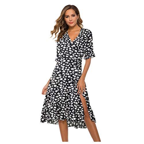 URIBAKY Damen Sommerkleider Lang,Blumendrucken T shirtklerid Tunika V-Ausschnitt Urlaub Kleid Halbarm Party Strandkleid Maxikleider