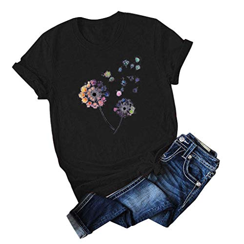 Lialbert Damen Pusteblume Bedrucktes T-Shirts Sommer lose Kurzarm runden Ausschnitt Bunte Blusen Komfortable Grafik T-Shirts Tunika Tee Tops