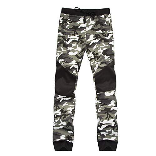 Katenyl Pantalones de chándal de Color en Contraste con Costuras de Camuflaje para Hombre, Cintura Media, Moda, pies en Forma de viga, Pantalones básicos Informales M