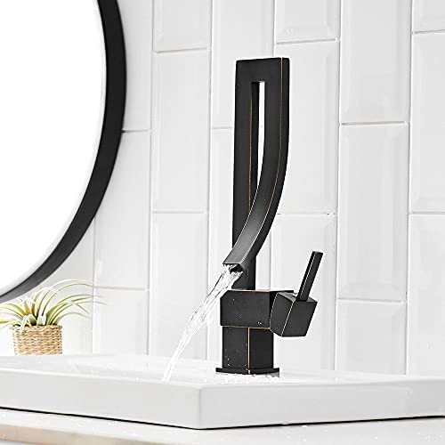 Black Square Grifo encascada Grifo Alto para lavabo de baño Grifo Girar 360 Grifos y grifos para baño y cocina Mezclador, Negro, China