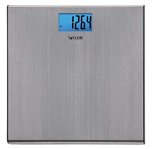Taylor Precision Products Digital 440 Pound Capacity Extra Thin Stainless Steel Bathroom Scale, Silver