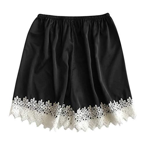WooCo Geschenke für Freundin Damen Schlaf Shorts Sexy Dessous Nachtwäsche Unterwäsche Nachtwäsche ShortsSchlafanzughosen(Schwarz,EU:M/CN:L)