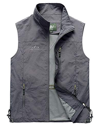 Gihuo Men's Casual Outdoor Lightweight Quick Dry Travel Vest Outerwear (Grey, X-Large)