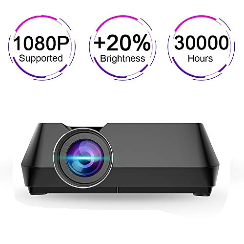 PTVwire Multimedia LCD Projector, 30000+ Hours Support HD 1080P for Outdoor Movie Night, Family, Compatible with Phone, DVD Player, PS4, XBOX, HDMI, USB, SD