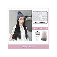 ナチュラル接続髪合成のBlack Hatカーリーヘアストレートヘアウィッグ弾性ニット帽子ウィッグ耐熱女性、25,22Inches