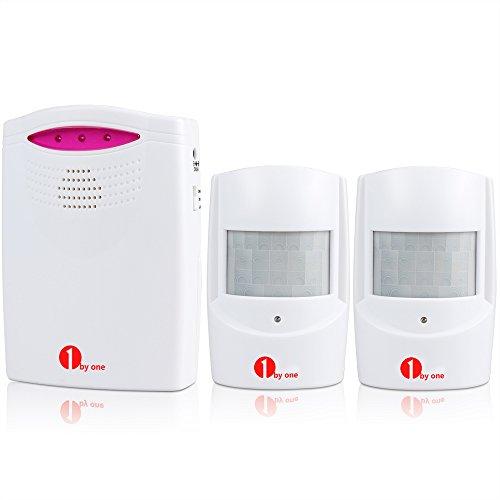1byone Alarmanlage mit Bewegungsmelder Infrarot Funk Alarmsystem 1 Bewegungsmelder & 1 batteriebetriebene Empfänger Auffahrts-Alarmset mit Blauer LED Anzeige