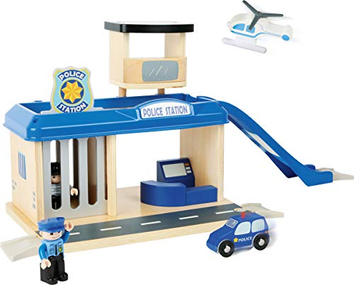 Small Foot Wooden Toys Police Station Playset Complete with All Accessories Designed for Kids Ages 3+