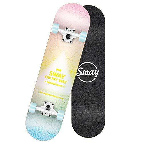 Axdwfd Longboard Niñas Skateboard, Adultos Principiantes Adolescentes Doble Alas Cepille Street Scooter Cuatro niños 79x20x10CM (Color : B)