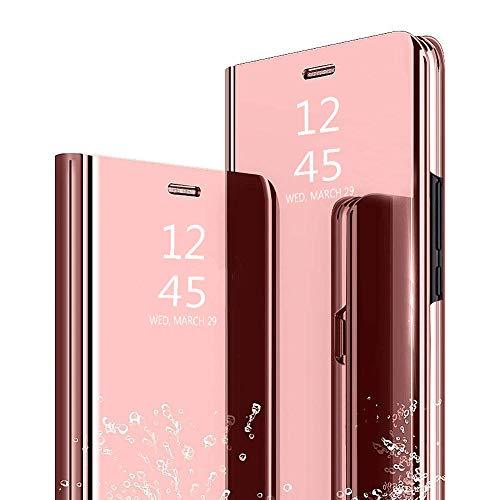 Ptny Flip Cuero Funda Compatibles Samsung Galaxy J7 Core Carcasa, Vista Inteligente Protector de Pantalla Plegable Flip Ultra Delgado Translúcido Espejo Slim Fit Smart Bumper [Oro Rosa]