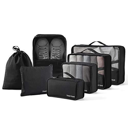 BIMNOOT Packing Cubes 7-Pcs Travel Luggage Packing Organizers Set with Laundry Bag & Shoe Bag (Black)