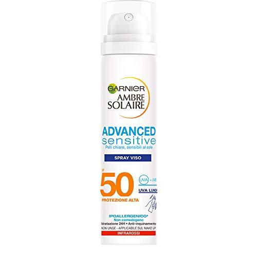 Garnier Ambre Solaire Spray Viso Protettivo IP 50 Advanced Sensitive, Protezione Alta, 75 ml