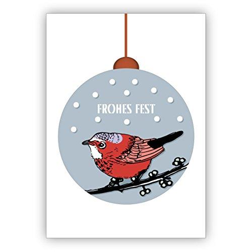 Mooie gereduceerde kerstkaart met kleine vogel in kerstbal in de sneeuw: Vrolijk feest • Uitklapbare kaartenset met enveloppen als liefdevolle kerstgroet voor familie en vrienden 16 Grußkarten