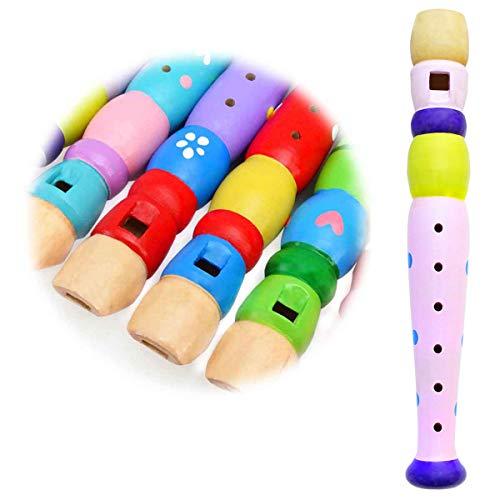 Keepdrum Flöte aus Holz Musik-Spielzeug für Kinder Pink Rosa