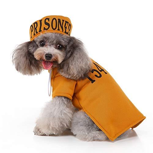 SimpleMfD Pet Halloween Cosplay lustige Kostüm Gefangener Outfit mit Zahlen Junkto Mantel und 2-legged Hut für Hunde,