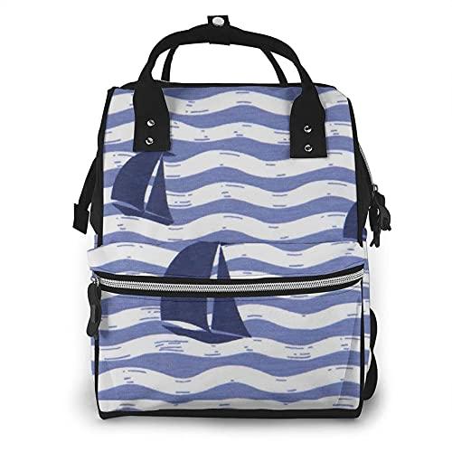 AOOEDM Mochila con bolsa de pañales grande para velero a rayas, mochila multifuncional impermeable para mamás para mamás de maternidad, papás