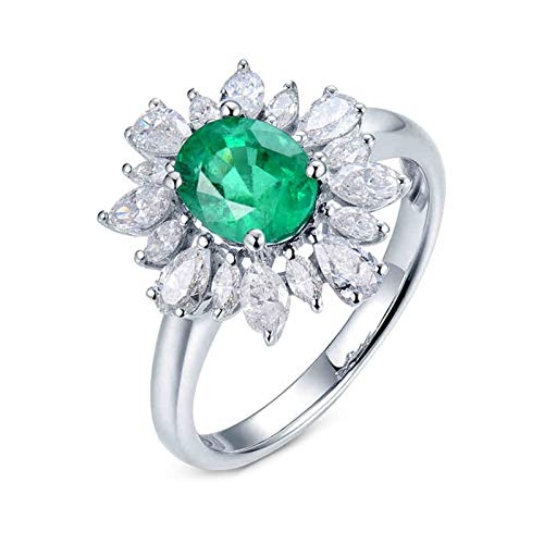 AtHomeShop Real Gold Collection, 18K White Gold Rings, Oval Flowers Women's Rings with Sparkling Oval Emerald and Diamond Marriage Proposal Ring for Fiancee, Proposal Marriage, Polished White Gold