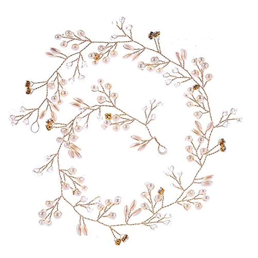 衣服法令アドバンテージHairpinheair YHM 50センチ結婚式のファッションヘッドドレス花嫁手作りの結婚式の王冠花パールヘアアクセサリーヘアピンの装飾品(ゴールド) (色 : Gold)