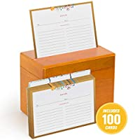 Classic Maple Recipe Box with Floral Recipe Cards and Dividers by Fresh & Lucky