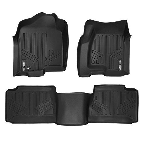 MAXLINER Floor Mats 2 Row Liner Set Black for 2001-2007 Silverado/Sierra 1500/2500/3500 Extended Cab Classic Body Style