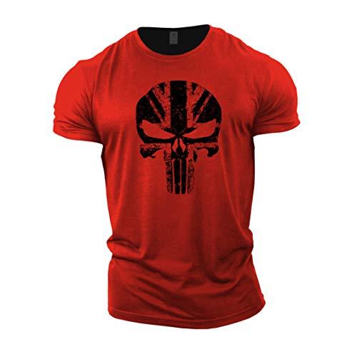 Gymtier, Bodybuilding-T-Shirt für Herren – Schädel mit UK-Flagge – Trainings-Top Gr. 3XL, rot