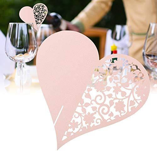 Uxsiya Tarjetas de Nombre para el Lugar Tarjetas de Nombre para el Lugar de la Boda Decoración de Aspecto Hermoso para Banquetes de Copas de Vino(Pink)