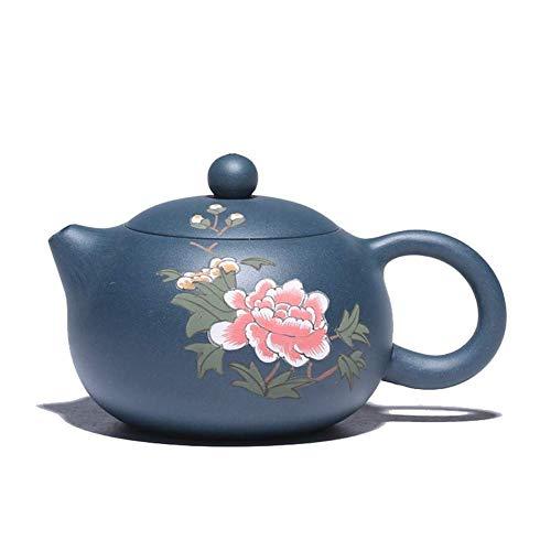 LULUTING Yixing Tetera de Barro Pintado Blue Sky Rich Flores Hechas a Mano Bellezas Pot Tiesto Tetera