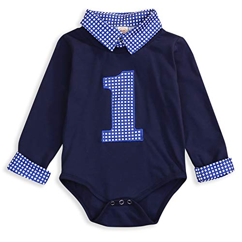 Baby Boy First Birthday Clothes Plaid Stand Collar Long Sleeve Romper Jumpsuit Cake Smash Outfit (Navy Blue, 15 Months)