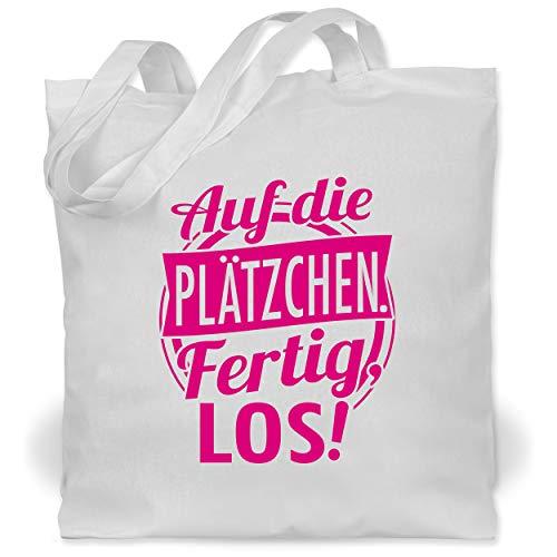Shirtracer Küche - Auf die Plätzchen. Fertig, Los! - fuchsia - Unisize - Weiß - Spruch - WM101 - Stoffbeutel aus Baumwolle Jutebeutel lange Henkel