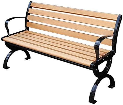 YZ-YUAN Banco de jardín Banco de jardín de 3 plazas con terraza, Bancos de Listones de Madera Maciza anticorrosiva con Patas de Aluminio Fundido, Silla de Porche Resistente a la Intemperie con apoya