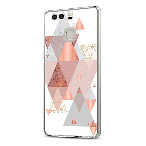 Huawei P9 Hülle, 14chvily Schutzhülle Huawei P9 Plus Handyhülle Soft Marmor Cover Rückschale Blume Flüssigkristall Silicone Schutz Shockproof Handytasche für Huawei P9 Plus - Ultra dünn (7.0, P9)
