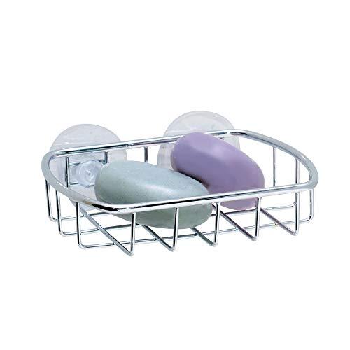 iDesign Rondo Steel Suction Bar Soap Dish - 5.26' x 4' x 1.13', Chrome